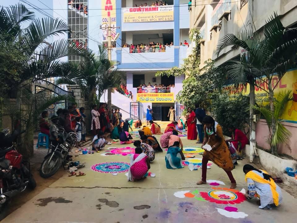 rangoli competetion at gowthami college shamshabad18